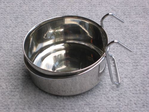Stainless .3L Feeder Bowl CLAMP or HANGER for Bird/Rat        BUYS 2 BOWLS