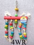 BIRD 15in ROPE AND COLOURFUL WOOD TOY, GREAT FOR CAGE      4WR