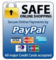 Safe online shopping with secure online payments by PayPal. All major credit cards accepted.